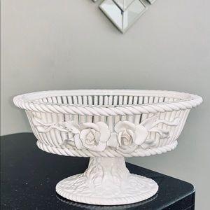Other - Antique Bassano Italian White Rose Basket